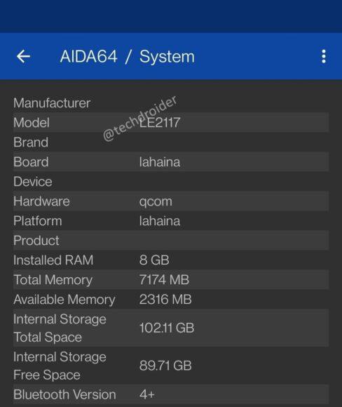 OnePlus 9 memoria Aida64