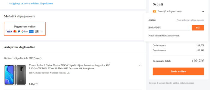 Redmi 9 coupon 3 febbraio 2021 prezzo Banggood