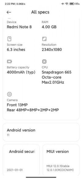 Redmi Note 8 aggiornamento Android 11 Cina