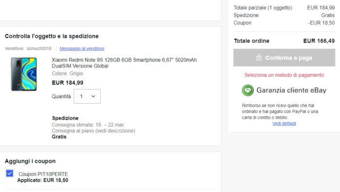 Redmi Note 9S 6-128GB prezzo coupon Ebay marzo 2021