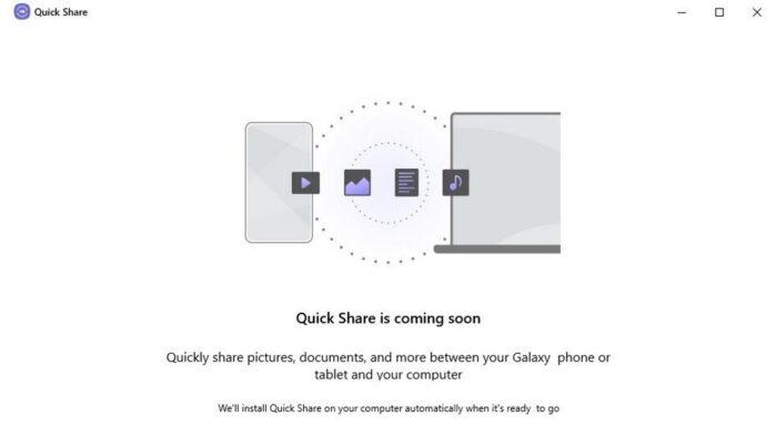 Samsunq Quick Share app scaricabile su Windows 10
