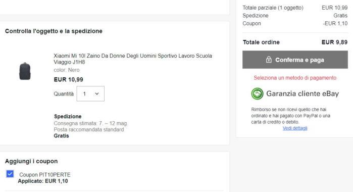 Zaino Xiaomi coupon prezzo Ebay maggio 2021