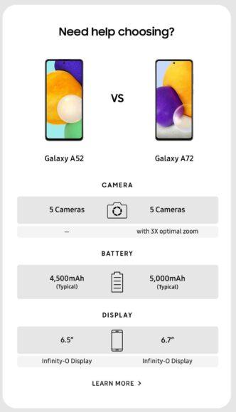 Galaxy A52 e Galaxy A72 differenze 1