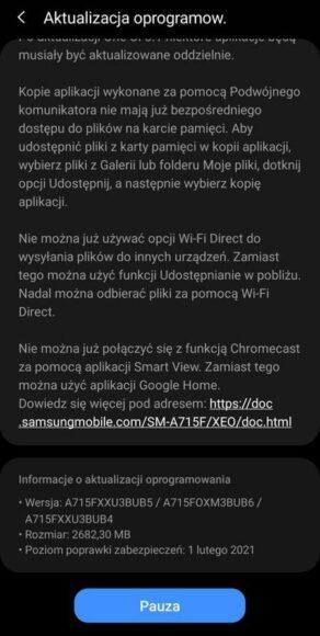 Galaxy A71 4G aggiornamento Android 11 ONE UI 3.1