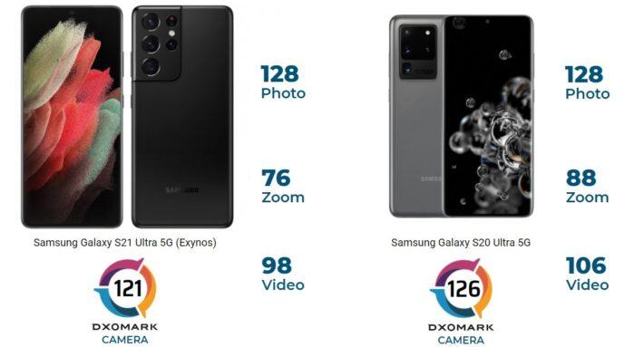 Galaxy S21 Ultra punteggio DxOMark inferiore al Galaxy S20 Ultra