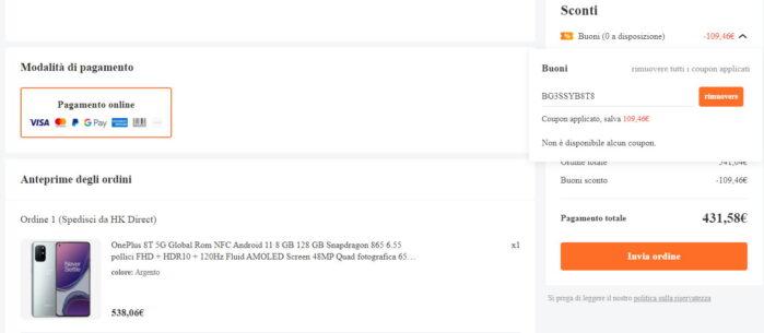 OnePlus 8T coupon Banggood prezzo 23 marzo 2021