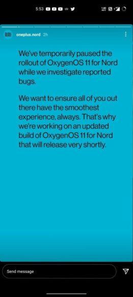 OnePlus Nord OxygenOS 11 aggiornamento bloccato