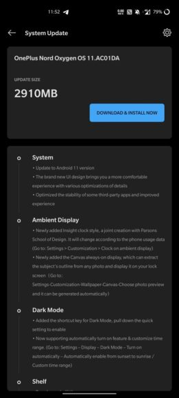OxygenOS 11 OnePlus Nord Android 11