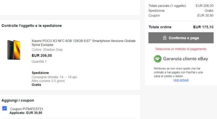 Poco X3 NFC coupon Mi Fan Festival prezzo Ebay