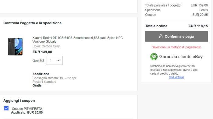 Redmi 9T coupon Ebay Mi Fan Festival 2021 prezzo
