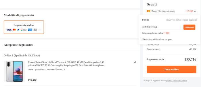 Redmi Note 10 Banggood prezzo coupon Xiaomi Mi Fan Festival 2021