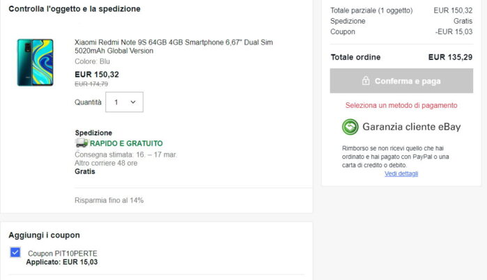 Redmi Note 9S 4/64 prezzo coupon 135 euro l'offerta