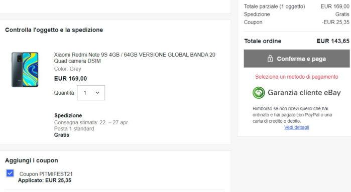 Redmi Note 9S e Poco X3 Pro 64GB coupon Mi fan festival Ebay Italia