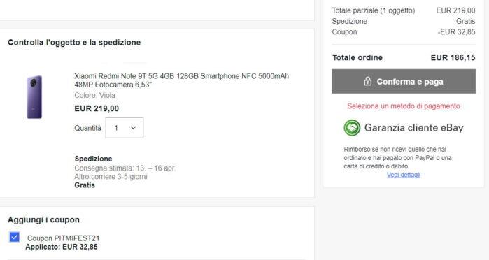 Redmi Note 9T coupon Mi Fan Festival 2021 prezzo Ebay