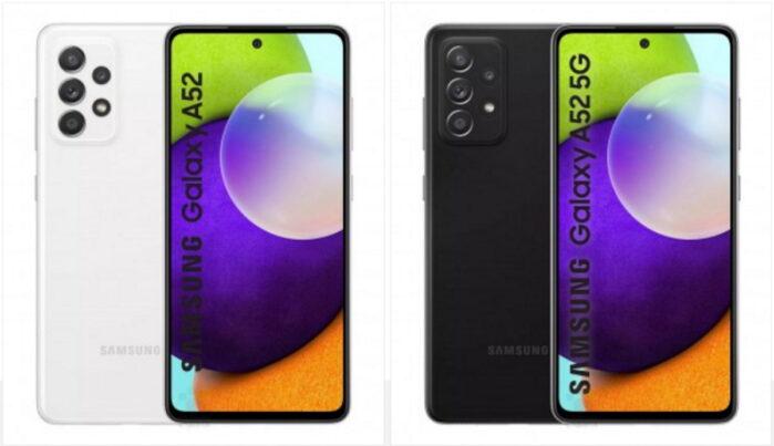 Samsung Galaxy A52 dettagli display e fotocamere modelli 4G e 5G
