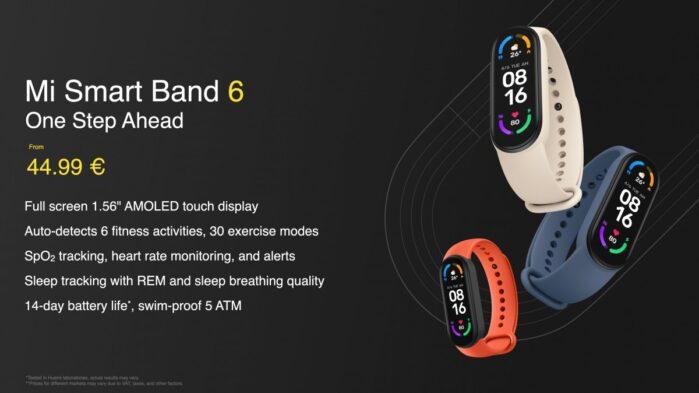 Xiaomi MI Smart Band 6 riassunto carattersitiche principali