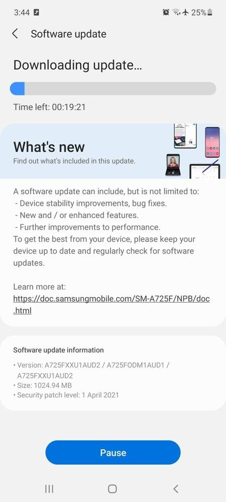 Galaxy A72 patch aprile 2021 change-log