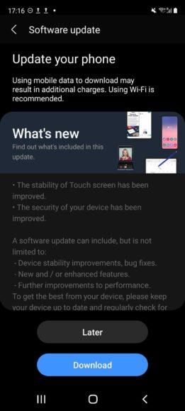 Galaxy S20 FE Patch aprile 2021 fix touchscreen