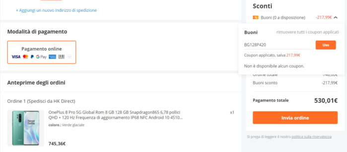 OnePlus 8 Pro coupon 20 aprile 2021 prezzo Banggood