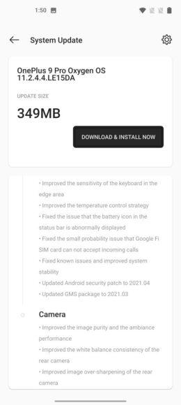 OnePlus 9 Pro OxygenOS 11.2.4.4 aggiornamento 2