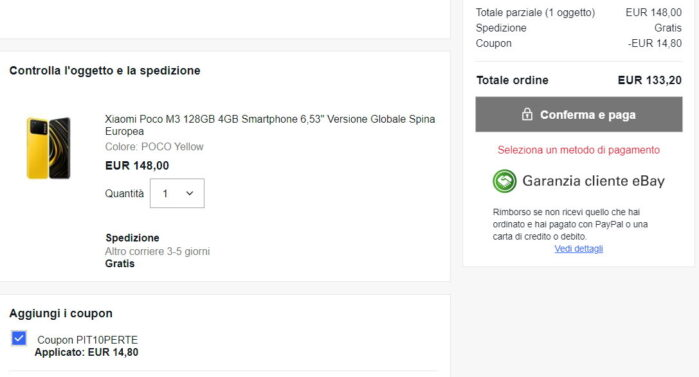 Poco M3 coupon PIT10PERTE Ebay prezzo