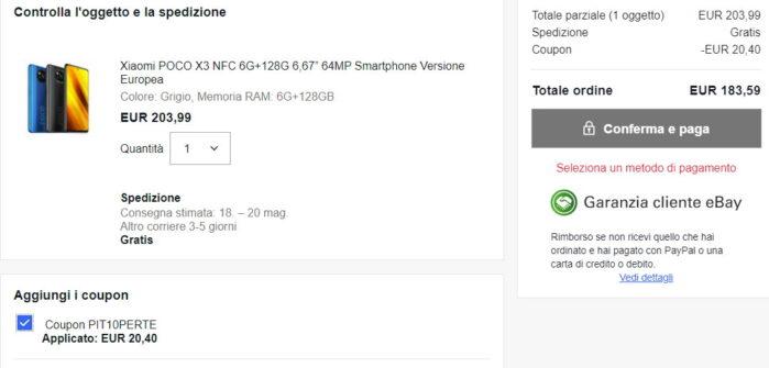 Poco X3 NFC 6-128GB prezzo coupon Ebay maggio 2021