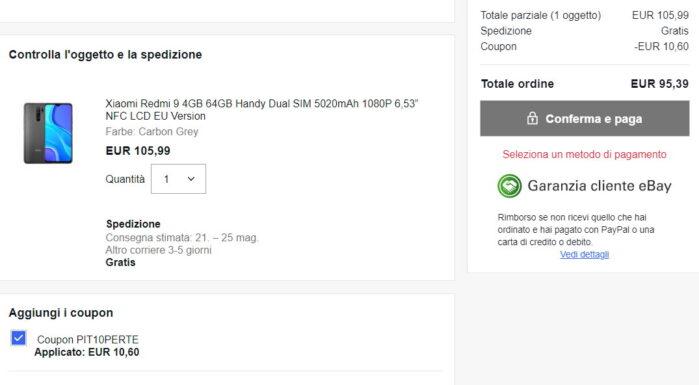 Redmi 9 4-64GB NFC prezzo offerta coupon Italia Ebay maggio 2021