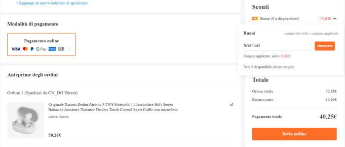 Redmi Airdots 3 coupon Banggood 1 aprile 2021 prezzo 40 euro