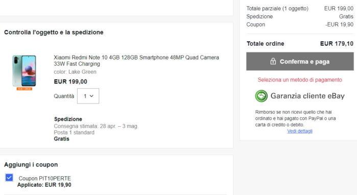 Redmi Note 10 coupon Ebay valido 30 giugno 2021 prezzo offerta