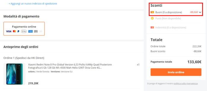 Redmi Note 8 pro coupon 20 maggio 2021 Banggood