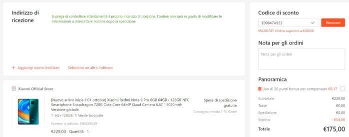 Redmi Note 9 Pro coupon settembre 2021 prezzo Gshopper