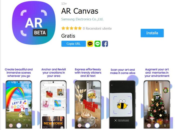 Samsung AR Canvas APP per la realtà aumentata sugli smartphone Galaxy