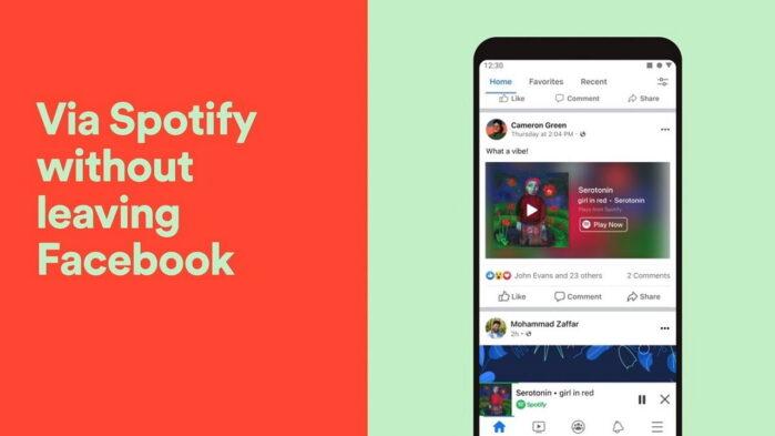 Spotify sull'App Facebook nuovo lettore multimediale