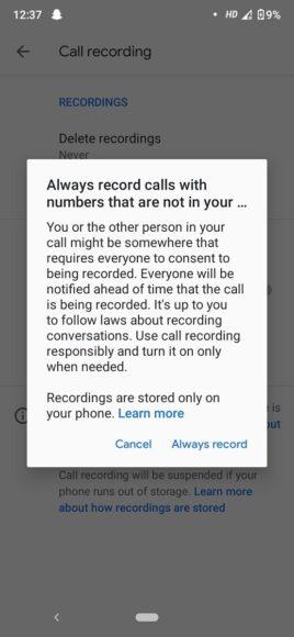 Telefono Google registrazione automatica numeri sconosciuti 2