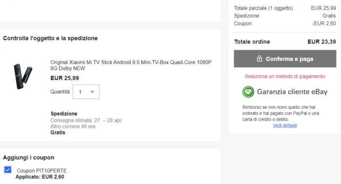 Xiaomi MI Stick coupon Ebay valido 30 giugno 2021 prezzo