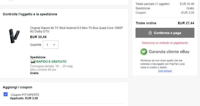 Xiaomi MI TV Stick prezzo offerta maggio 2021 con coupon