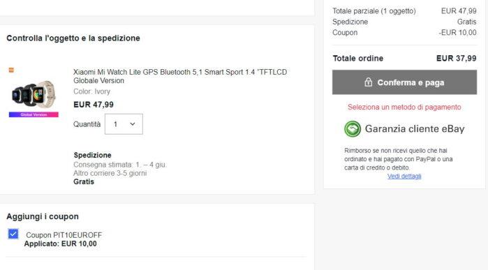 Xiaomi MI Watch Lite coupon Ebay 24 maggio 2021