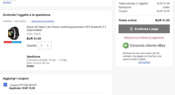 Xiaomi MI Watch Lite prezzo coupon Ebay PIT10EUROFF