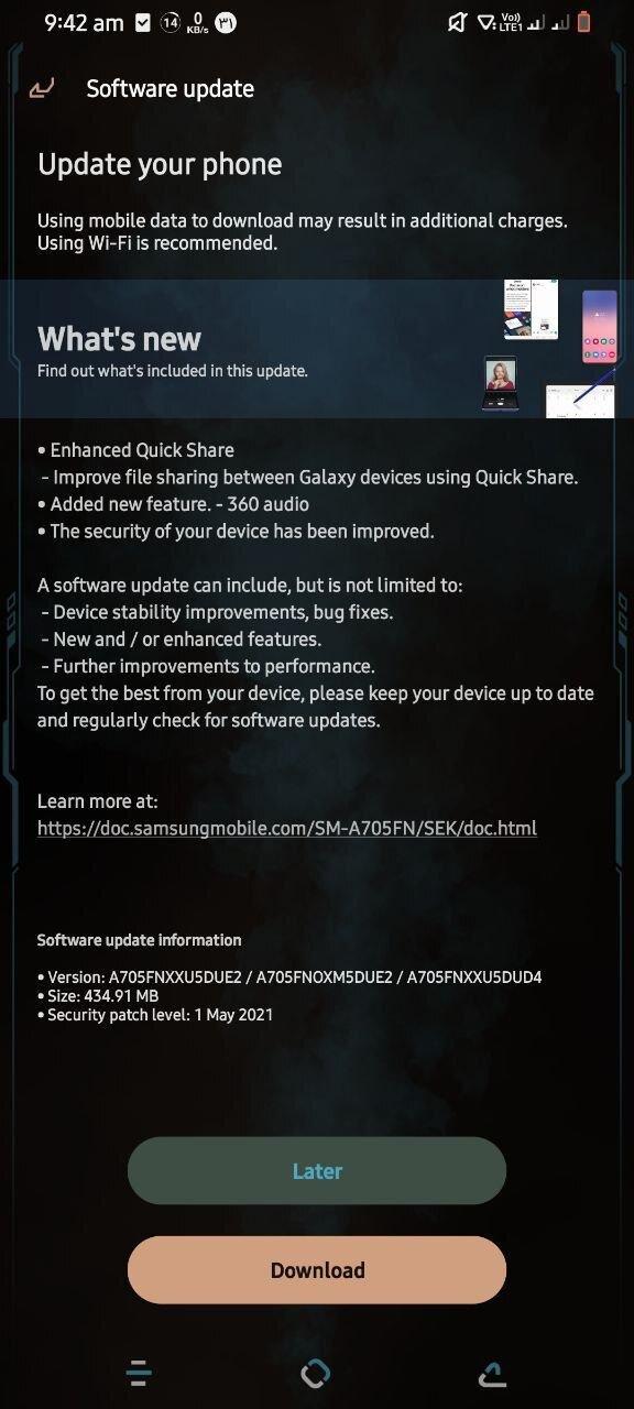 Galaxy A70 patch maggio 2021 aggiornamento novità