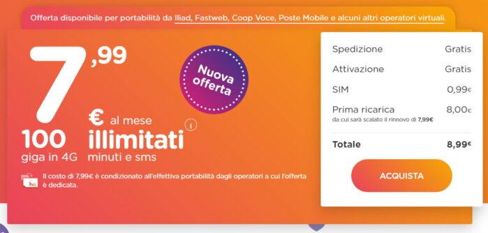 Ho. Mobile offerta portabilità da Iliad e operatori virtuali prezzo 7,99 euro