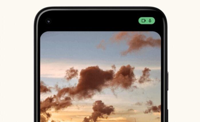 Icona privacy audio fotocamera Android 12