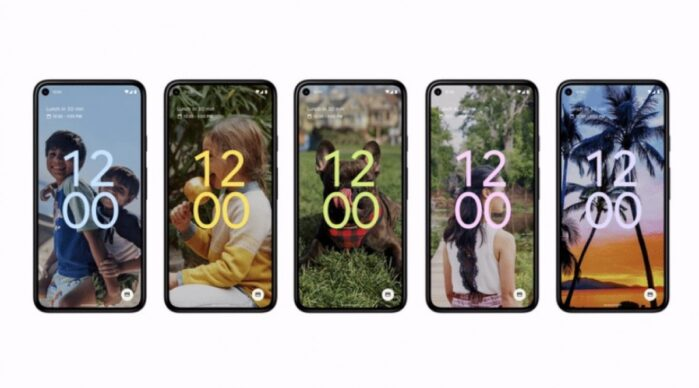 Nuova interfaccia colori Android 12 Lock Screen