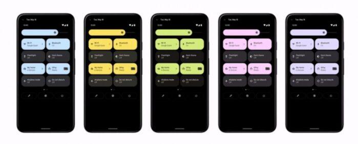 Nuova interfaccia colori Android 12 pannello notifica