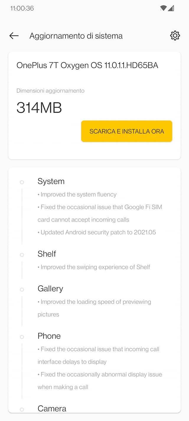 OxygenOS 11.0.1.1 per serie OnePlus 7 e 7T