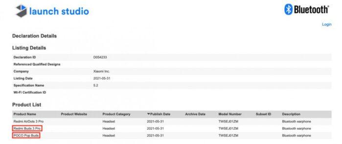 Poco Pop Buds rebrand Redmi Airdots 3 Pro certificazione Bluetooth