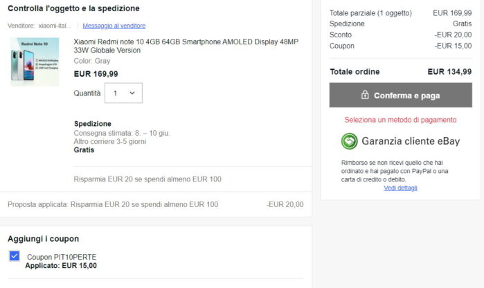 Redmi Note 10 coupon + sconto cassa Ebay