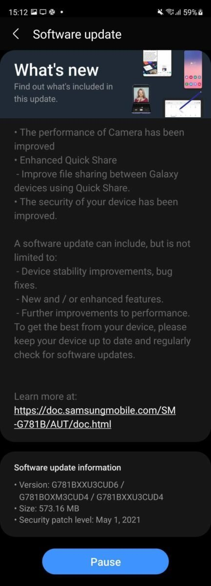 Samsung Galaxy S20 FE 5G patch aggiornamento maggio 2021