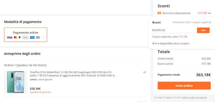 Oneplus 8 12-256GB offerta coupon giugno 2021 Banggood prezzo