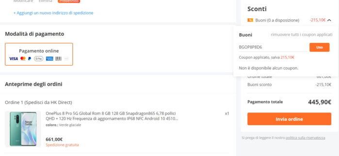 Oneplus 8 Pro Coupon 9 giugno 2021 Banggood prezzo in forte calo
