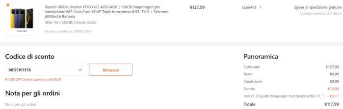 Poco M3 Globale 4-128GB coupon Gshopper 14 luglio 2021